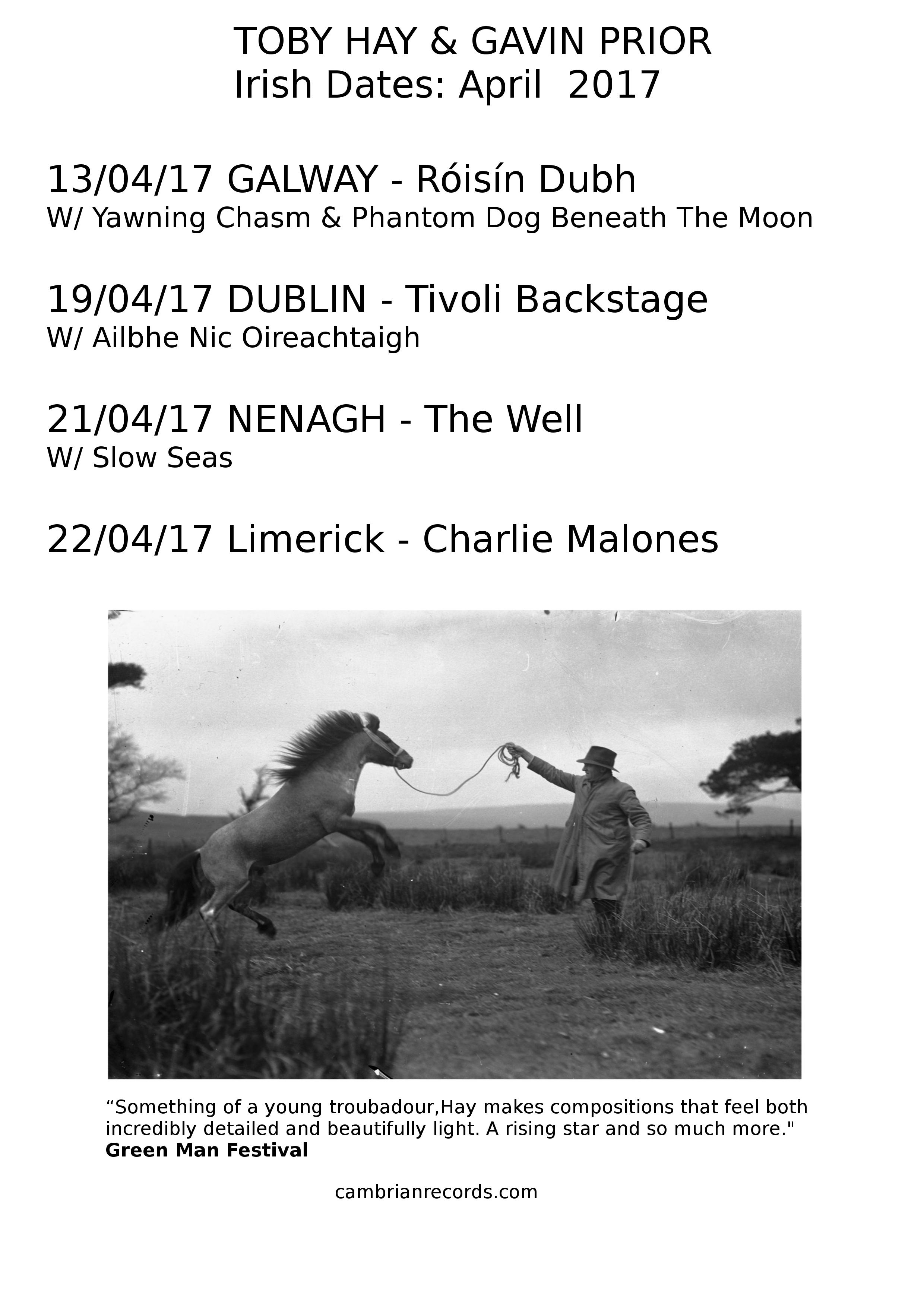 Toby Hay & Gavin Prior Irish Dates 2017